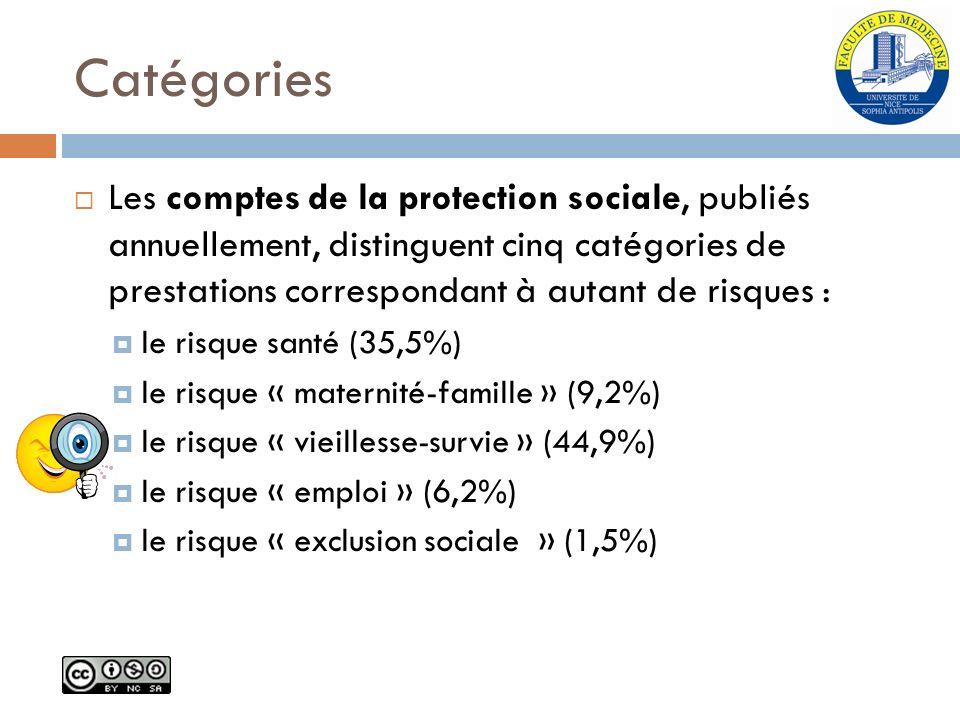 Catégories Les comptes de la protection sociale, publiés annuellement, distinguent cinq catégories de prestations correspondant à autant de risques :