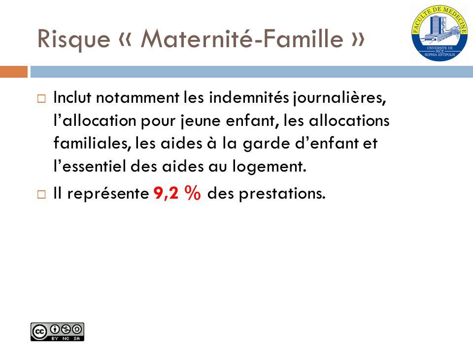 Risque « Maternité-Famille » Inclut notamment les indemnités journalières, lallocation pour jeune enfant, les allocations familiales, les aides à la g
