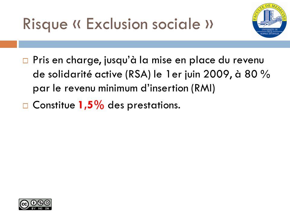 Risque « Exclusion sociale » Pris en charge, jusquà la mise en place du revenu de solidarité active (RSA) le 1er juin 2009, à 80 % par le revenu minim
