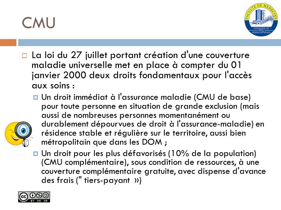 CMU La loi du 27 juillet portant création d'une couverture maladie universelle met en place à compter du 01 janvier 2000 deux droits fondamentaux pour