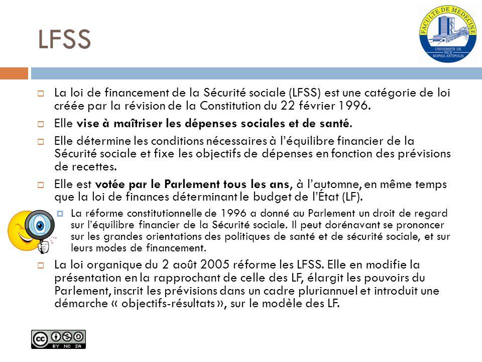 LFSS La loi de financement de la Sécurité sociale (LFSS) est une catégorie de loi créée par la révision de la Constitution du 22 février 1996. Elle vi