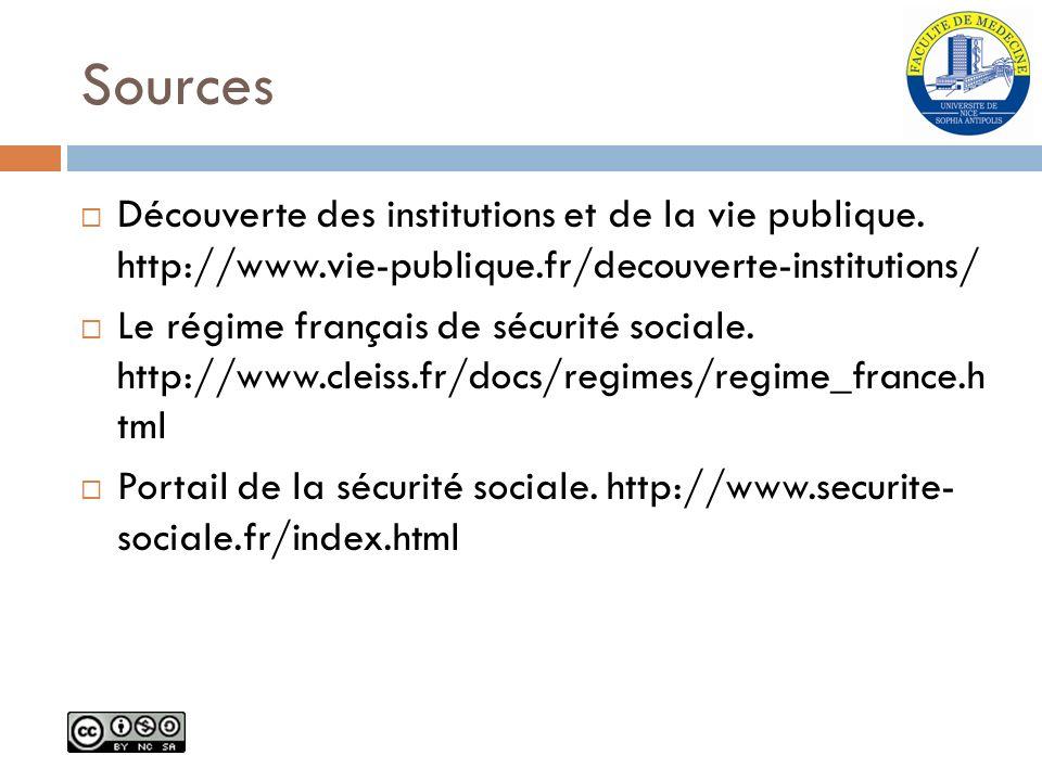 Sources Découverte des institutions et de la vie publique. http://www.vie-publique.fr/decouverte-institutions/ Le régime français de sécurité sociale.