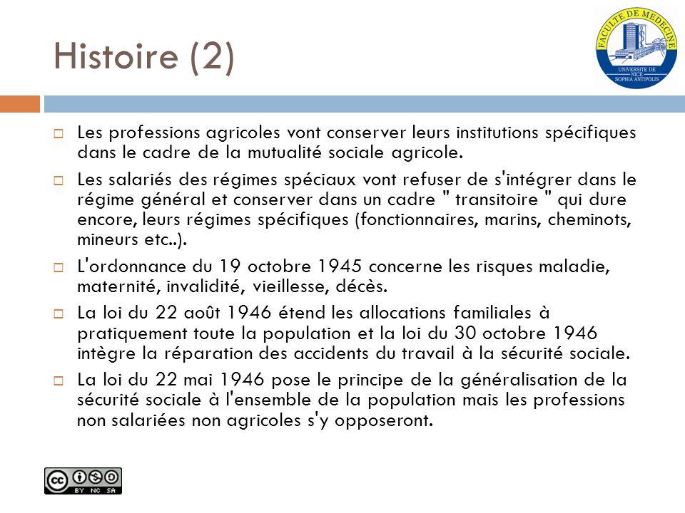 Histoire (2) Les professions agricoles vont conserver leurs institutions spécifiques dans le cadre de la mutualité sociale agricole. Les salariés des
