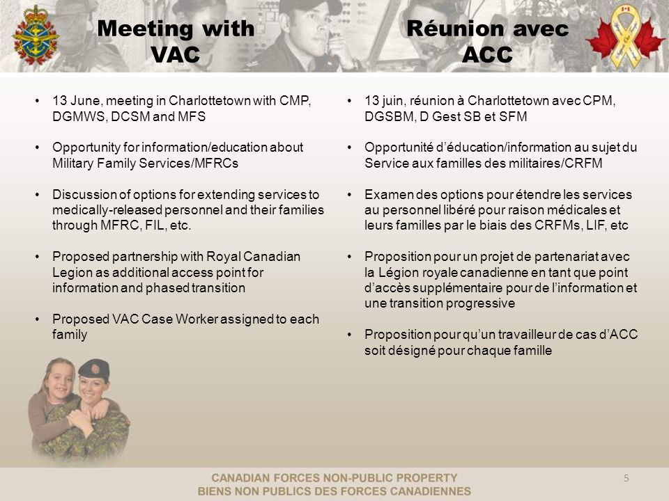 Meeting with VAC 5 13 June, meeting in Charlottetown with CMP, DGMWS, DCSM and MFS Opportunity for information/education about Military Family Services/MFRCs Discussion of options for extending services to medically-released personnel and their families through MFRC, FIL, etc.
