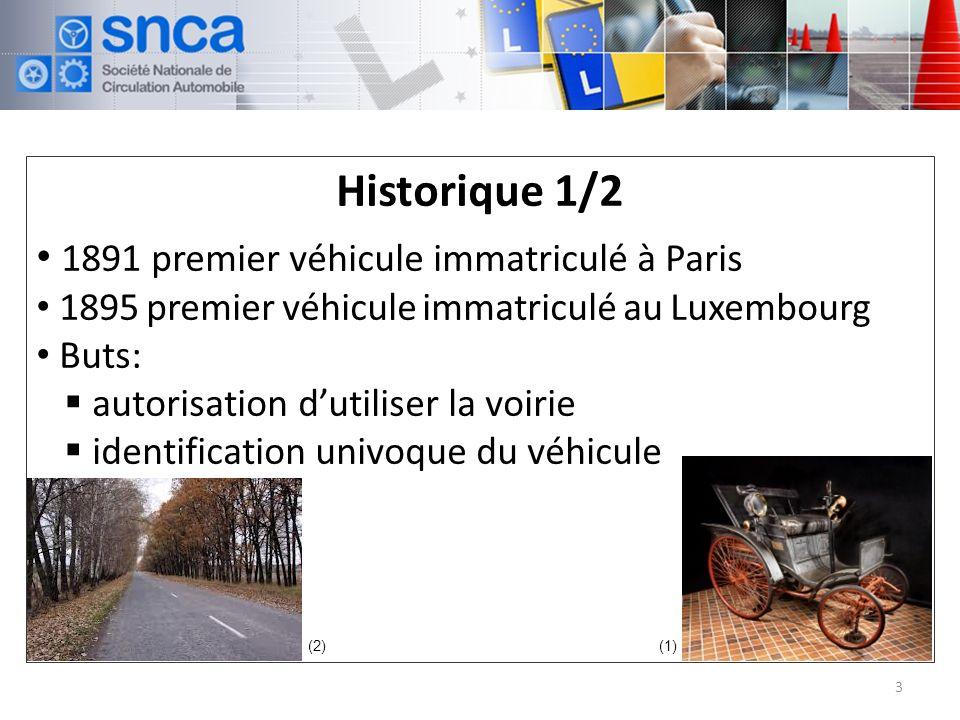 Historique 1/2 1891 premier véhicule immatriculé à Paris 1895 premier véhicule immatriculé au Luxembourg Buts: autorisation dutiliser la voirie identification univoque du véhicule 3 (2)(1)