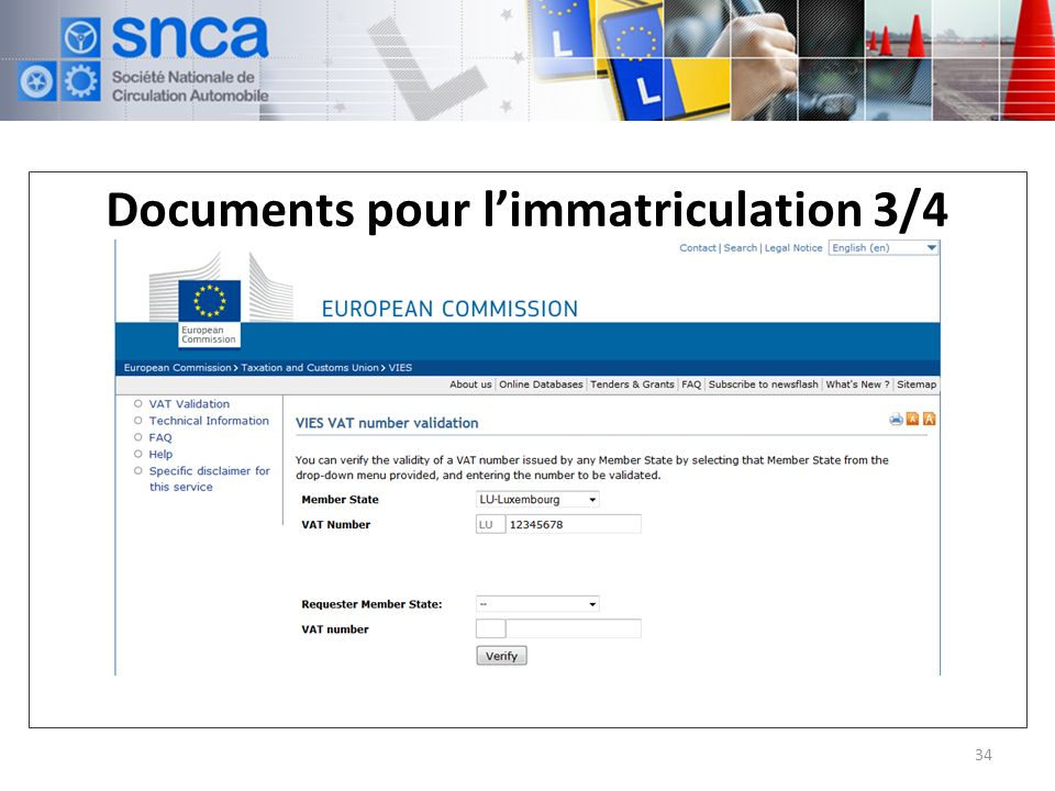 Documents pour limmatriculation 3/4 34