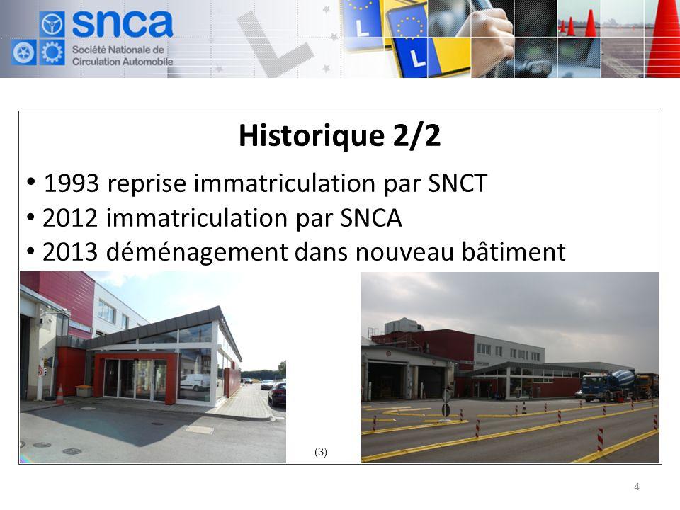 Historique 2/2 1993 reprise immatriculation par SNCT 2012 immatriculation par SNCA 2013 déménagement dans nouveau bâtiment 4 (3)