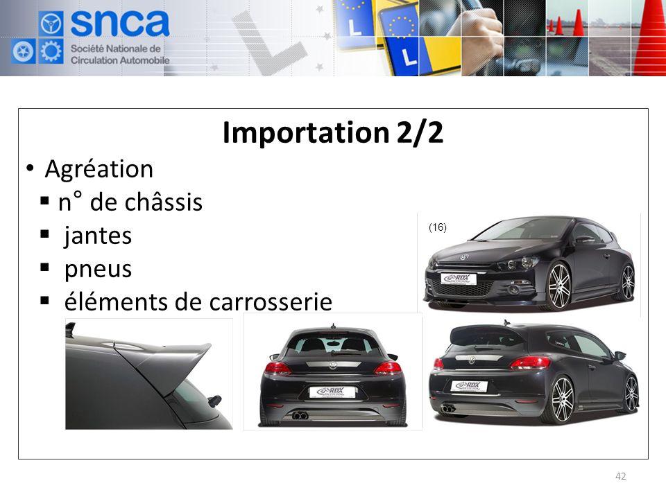 Importation 2/2 Agréation n° de châssis jantes pneus éléments de carrosserie 42 (16)