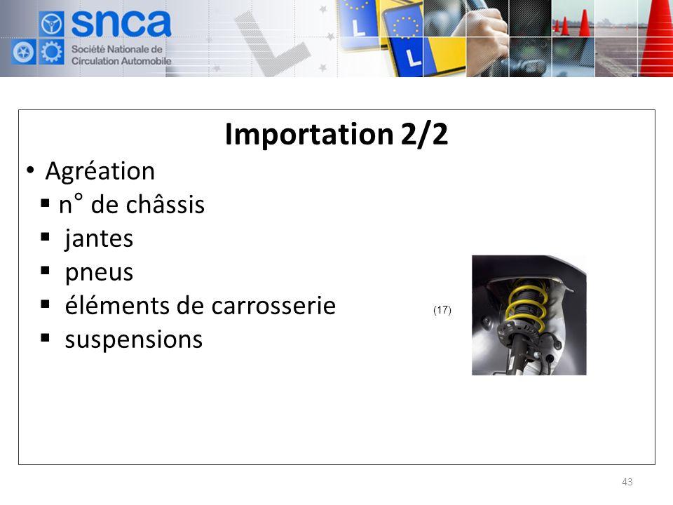 Importation 2/2 Agréation n° de châssis jantes pneus éléments de carrosserie suspensions 43 (17)