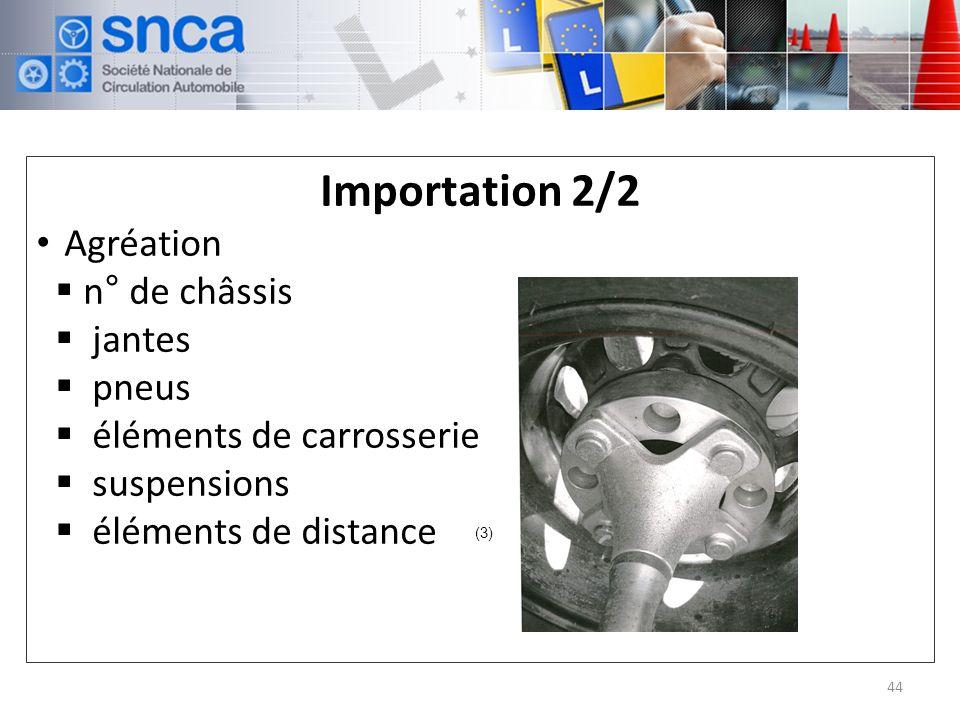 Importation 2/2 Agréation n° de châssis jantes pneus éléments de carrosserie suspensions éléments de distance 44 (3)