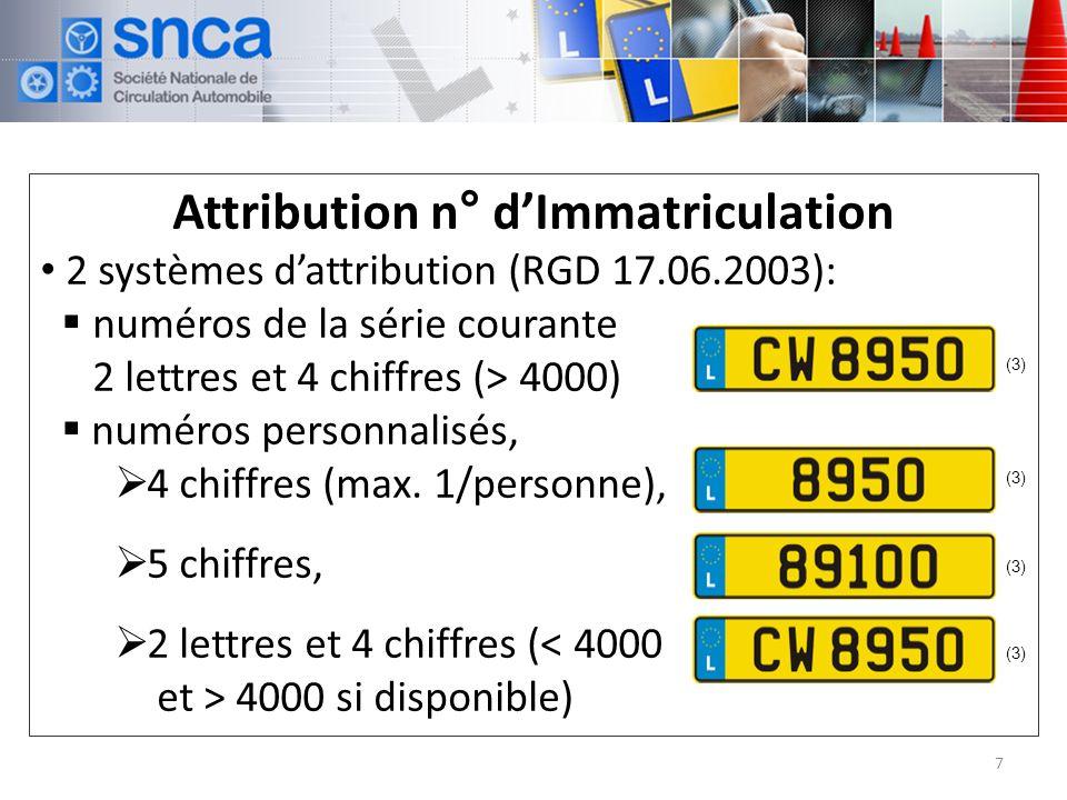 Attribution n° dImmatriculation 2 systèmes dattribution (RGD 17.06.2003): numéros de la série courante 2 lettres et 4 chiffres (> 4000) numéros personnalisés, 4 chiffres (max.
