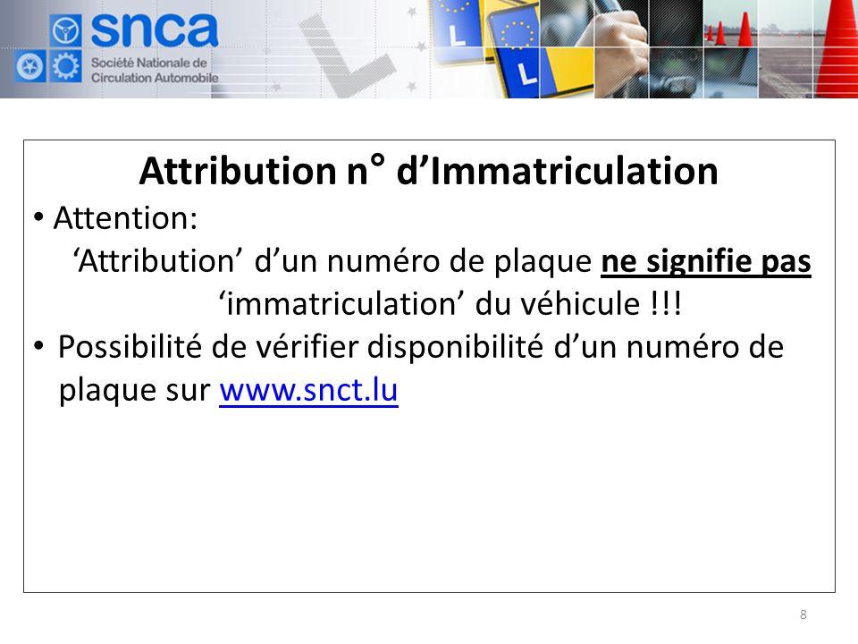 Attribution n° dImmatriculation Attention: Attribution dun numéro de plaque ne signifie pas immatriculation du véhicule !!.