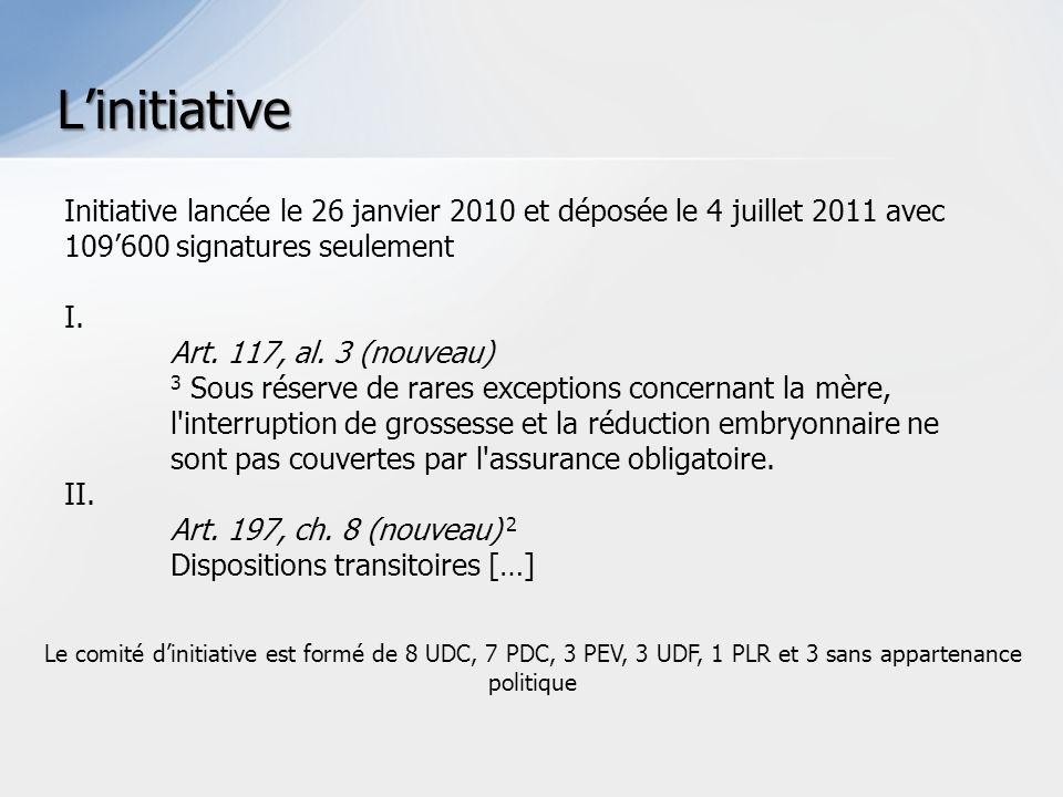 Initiative lancée le 26 janvier 2010 et déposée le 4 juillet 2011 avec 109600 signatures seulement I.