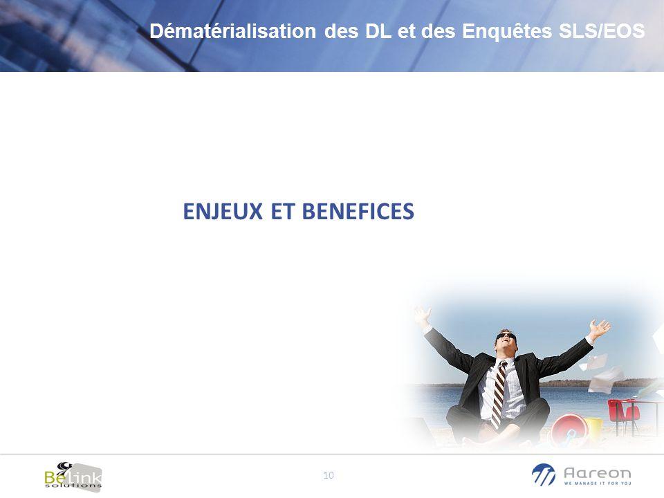 © Aareon France 10 ENJEUX ET BENEFICES Dématérialisation des DL et des Enquêtes SLS/EOS