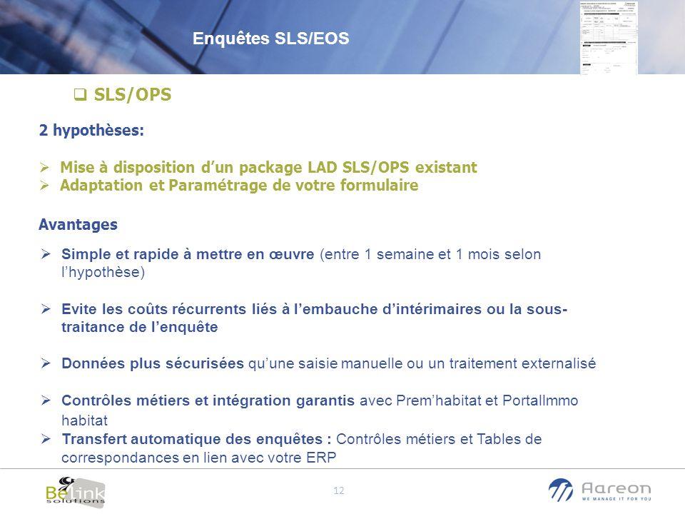 © Aareon France 12 SLS/OPS 2 hypothèses: Mise à disposition dun package LAD SLS/OPS existant Adaptation et Paramétrage de votre formulaire Avantages S