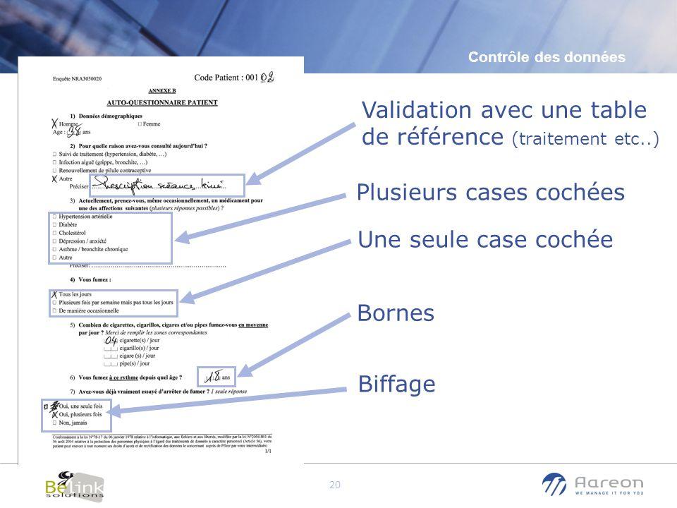 © Aareon France 20 Validation avec une table de référence (traitement etc..) Contrôle des données Plusieurs cases cochées Une seule case cochée Bornes