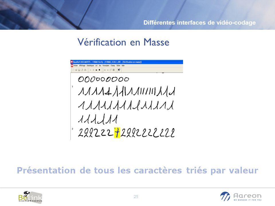 © Aareon France 25 Différentes interfaces de vidéo-codage Présentation de tous les caractères triés par valeur Vérification en Masse