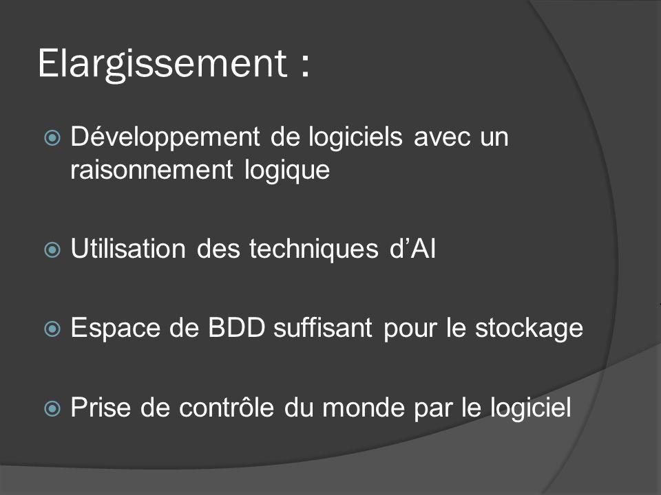 Elargissement : Développement de logiciels avec un raisonnement logique Utilisation des techniques dAI Espace de BDD suffisant pour le stockage Prise