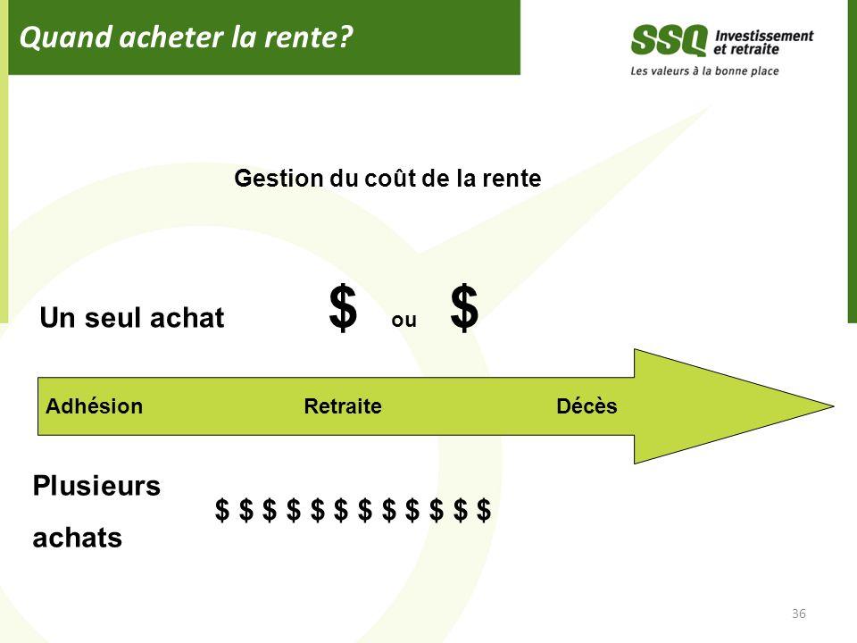 Quand acheter la rente? 36 Adhésion Retraite Décès Un seul achat $ ou $ Plusieurs achats $ $ $ $ $ $ Gestion du coût de la rente
