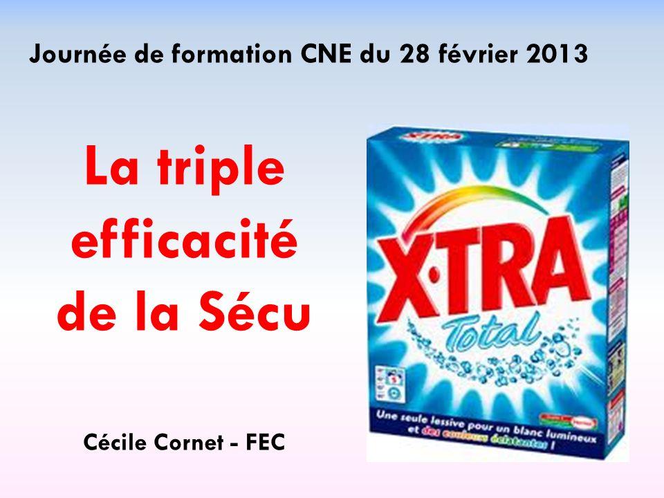 Journée de formation CNE du 28 février 2013 La triple efficacité de la Sécu Cécile Cornet - FEC