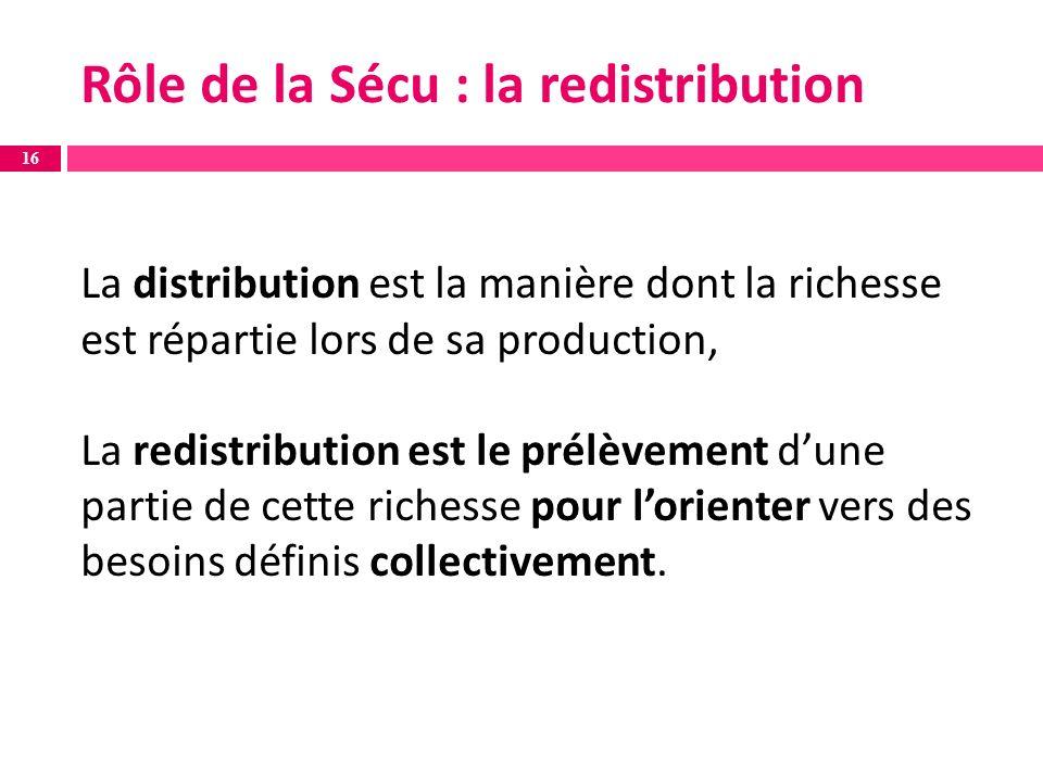 La distribution est la manière dont la richesse est répartie lors de sa production, La redistribution est le prélèvement dune partie de cette richesse pour lorienter vers des besoins définis collectivement.