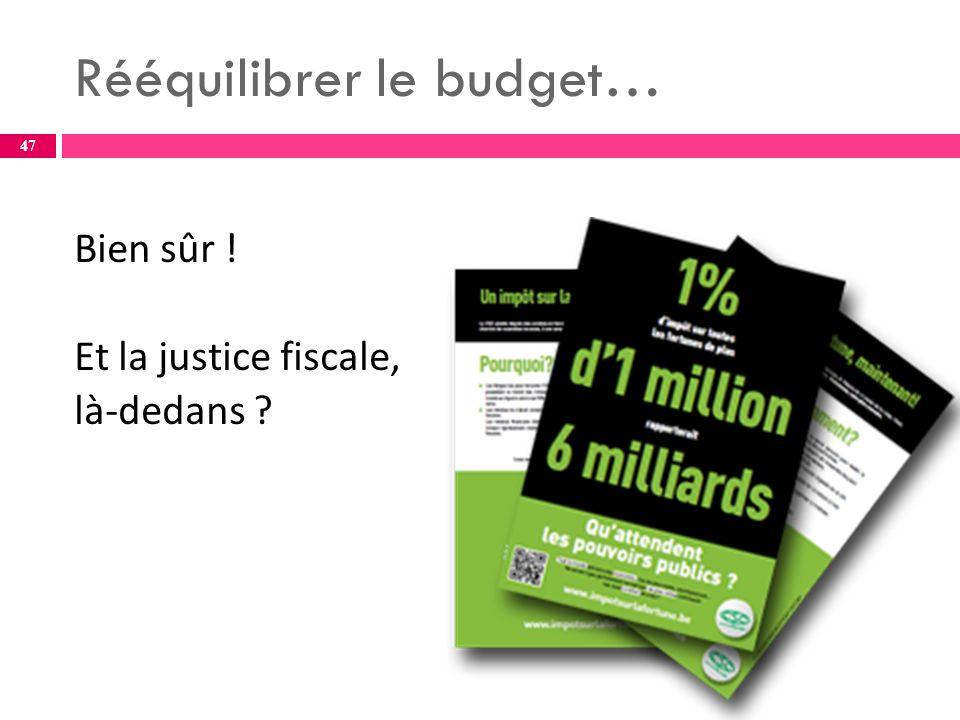 Rééquilibrer le budget… Bien sûr ! Et la justice fiscale, là-dedans 47