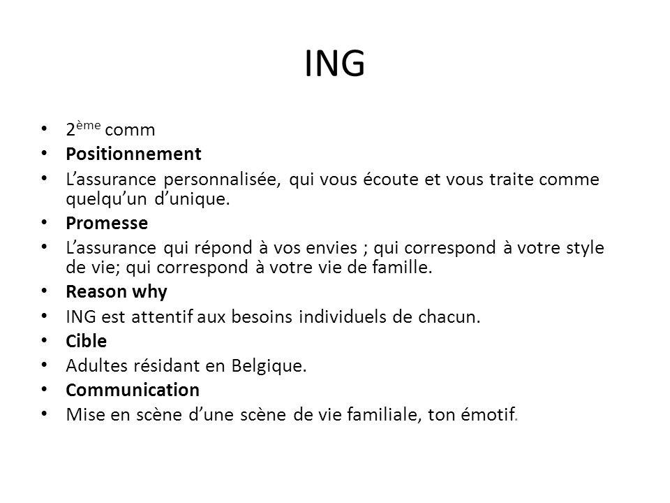 ING 2 ème comm Positionnement Lassurance personnalisée, qui vous écoute et vous traite comme quelquun dunique.
