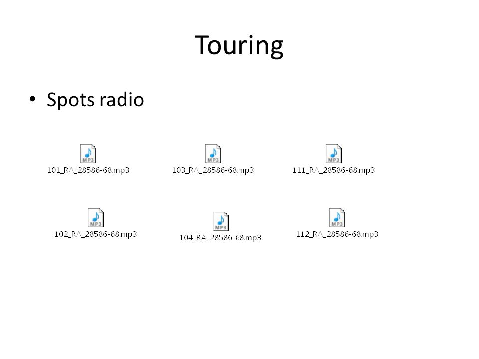 Touring Spots radio