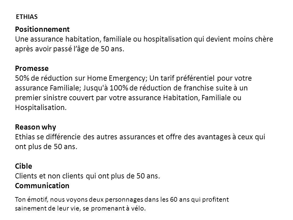 Positionnement Une assurance habitation, familiale ou hospitalisation qui devient moins chère après avoir passé lâge de 50 ans.