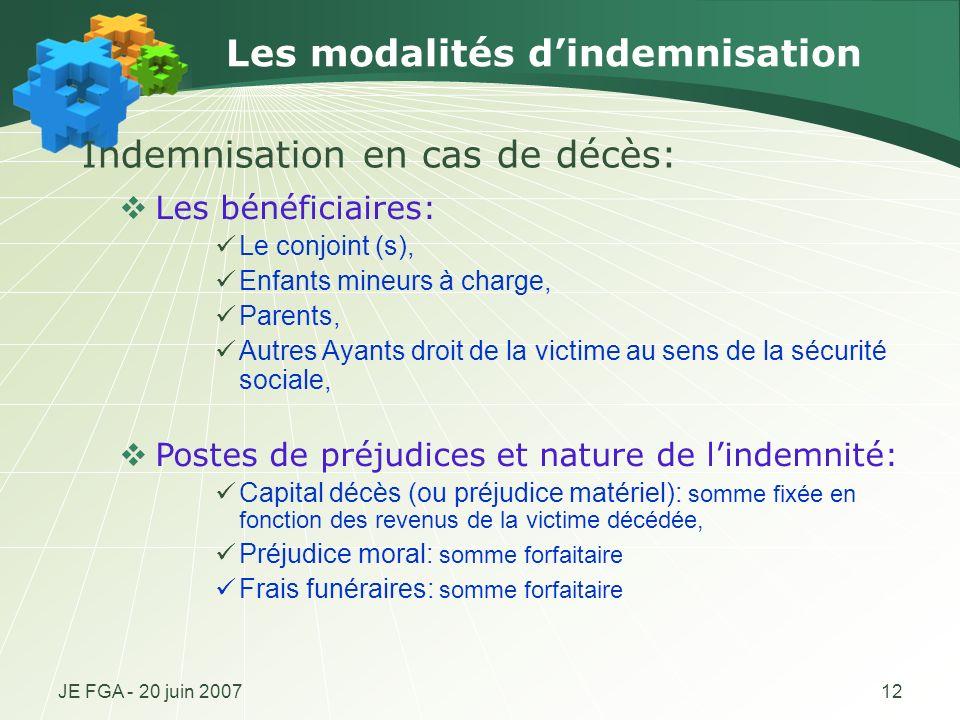 JE FGA - 20 juin 200712 Les modalités dindemnisation Les bénéficiaires: Le conjoint (s), Enfants mineurs à charge, Parents, Autres Ayants droit de la