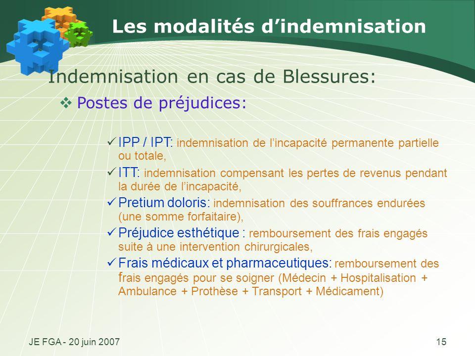 JE FGA - 20 juin 200715 Les modalités dindemnisation Postes de préjudices: IPP / IPT: indemnisation de lincapacité permanente partielle ou totale, ITT