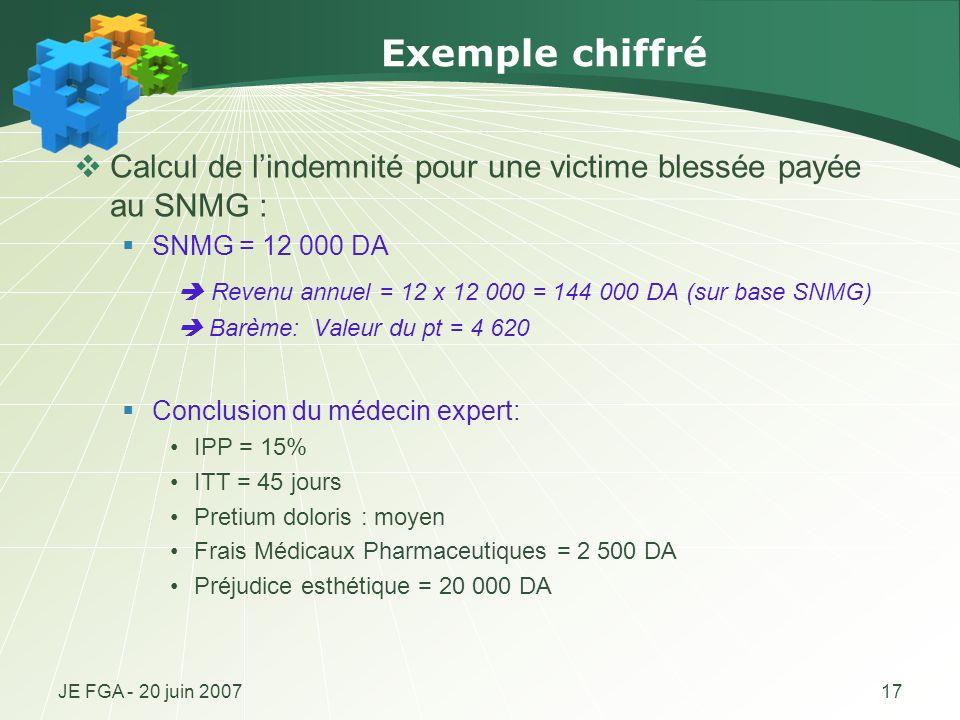 JE FGA - 20 juin 200717 Exemple chiffré Calcul de lindemnité pour une victime blessée payée au SNMG : SNMG = 12 000 DA Revenu annuel = 12 x 12 000 = 1