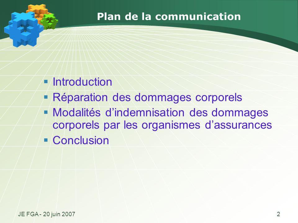 JE FGA - 20 juin 20072 Plan de la communication Introduction Réparation des dommages corporels Modalités dindemnisation des dommages corporels par les