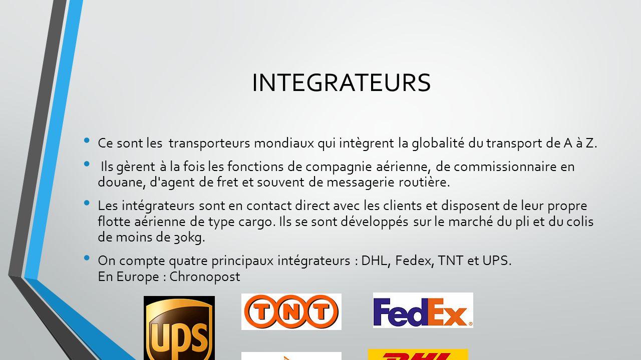 INTEGRATEURS Ce sont les transporteurs mondiaux qui intègrent la globalité du transport de A à Z. Ils gèrent à la fois les fonctions de compagnie aéri