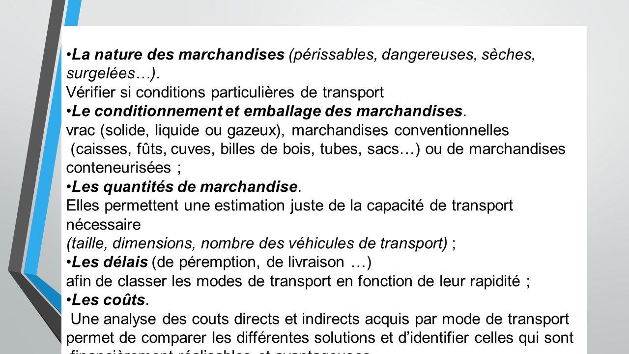 Choix du mode de transport La nature des marchandises (périssables, dangereuses, sèches, surgelées…). Vérifier si conditions particulières de transpor