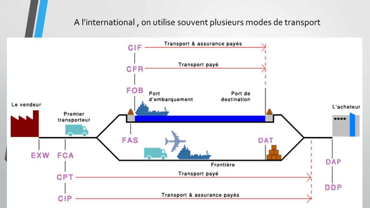 A linternational, on utilise souvent plusieurs modes de transport