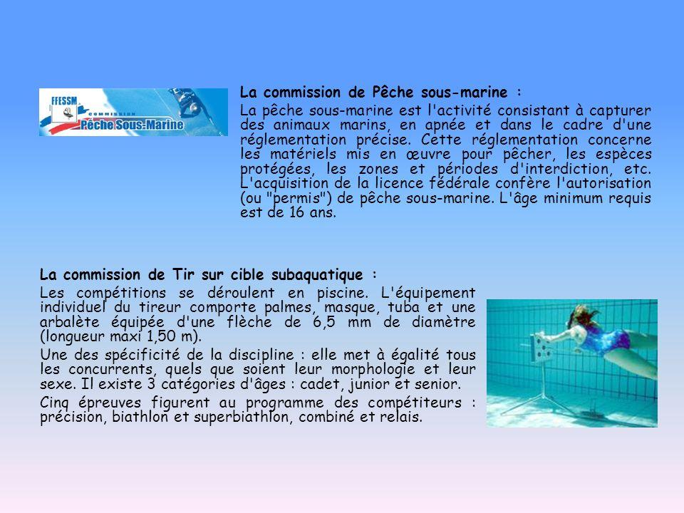 La commission de Tir sur cible subaquatique : Les compétitions se déroulent en piscine. L'équipement individuel du tireur comporte palmes, masque, tub