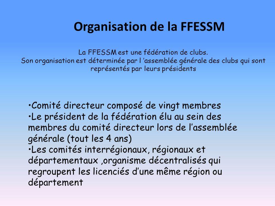 La FFESSM est une fédération de clubs. Son organisation est déterminée par l assemblée générale des clubs qui sont représentés par leurs présidents Co