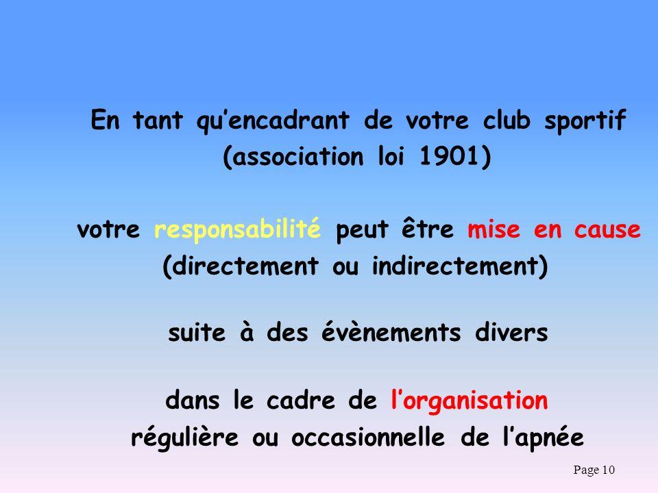 Page 10 En tant quencadrant de votre club sportif (association loi 1901) votre responsabilité peut être mise en cause (directement ou indirectement) s