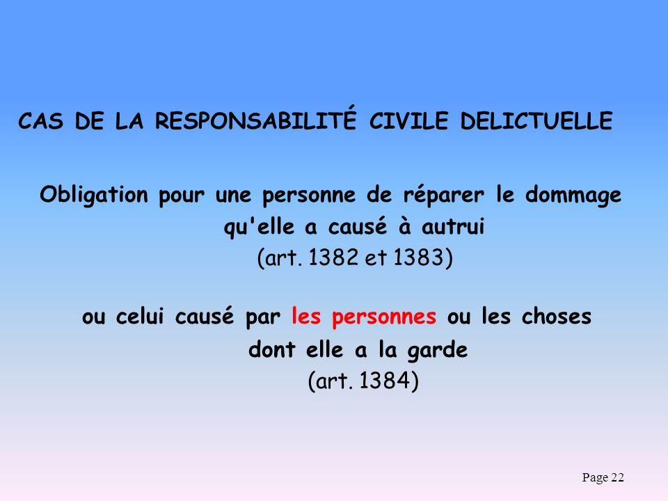 Page 22 CAS DE LA RESPONSABILITÉ CIVILE DELICTUELLE Obligation pour une personne de réparer le dommage qu'elle a causé à autrui (art. 1382 et 1383) ou