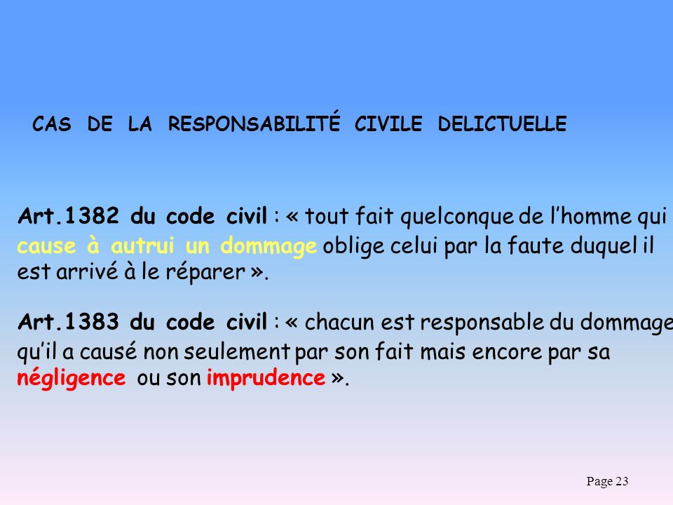 Page 23 CAS DE LA RESPONSABILITÉ CIVILE DELICTUELLE Art.1382 du code civil : « tout fait quelconque de lhomme qui cause à autrui un dommage oblige cel
