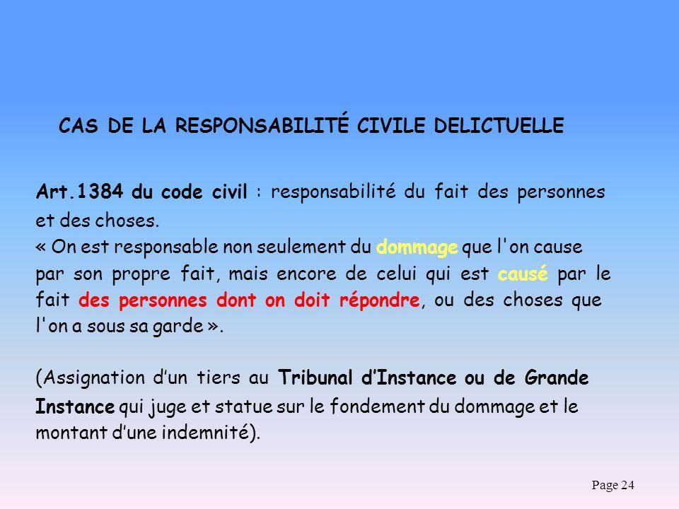 Page 24 CAS DE LA RESPONSABILITÉ CIVILE DELICTUELLE Art.1384 du code civil : responsabilité du fait des personnes et des choses. « On est responsable