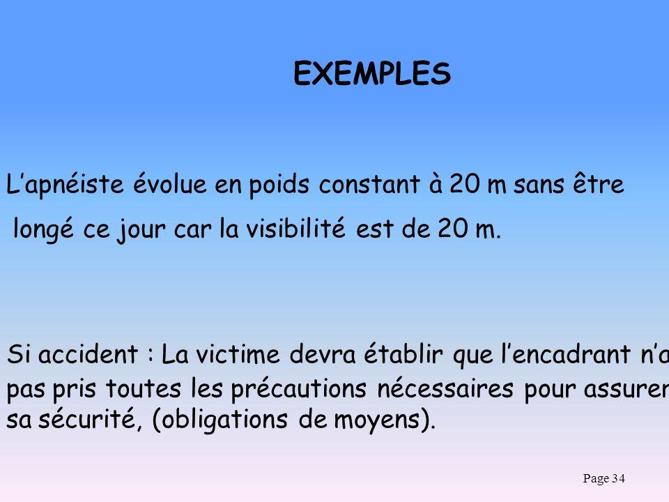 Page 34 EXEMPLES Lapnéiste évolue en poids constant à 20 m sans être longé ce jour car la visibilité est de 20 m. Si accident : La victime devra établ