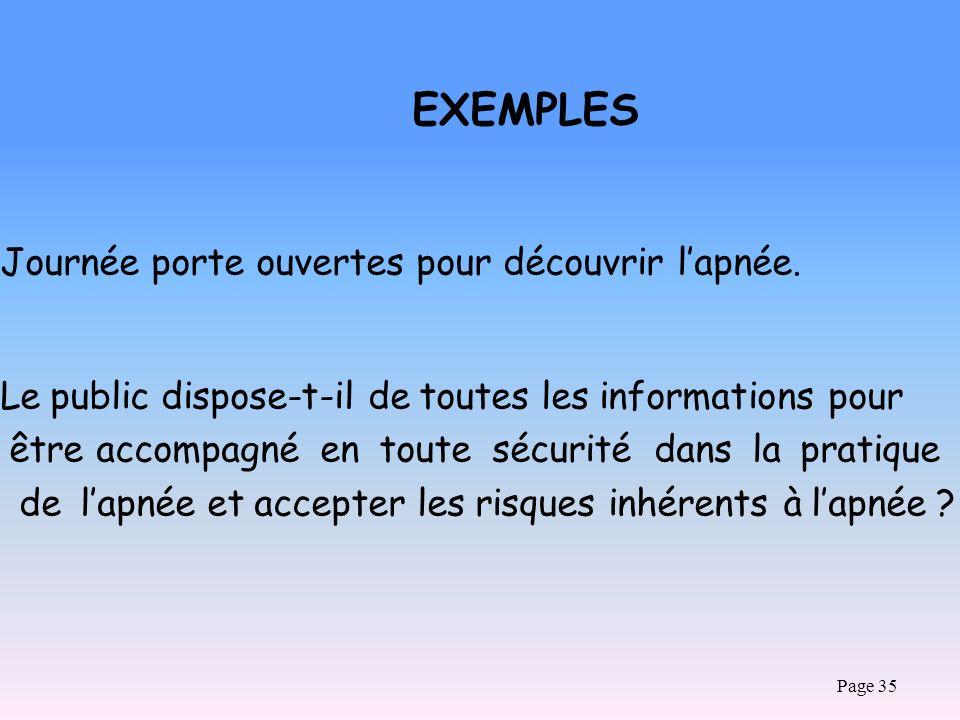 Page 35 EXEMPLES Journée porte ouvertes pour découvrir lapnée. Le public dispose-t-il de toutes les informations pour être accompagné en toute sécurit
