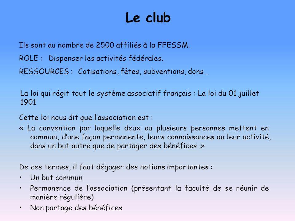 Le club Ils sont au nombre de 2500 affiliés à la FFESSM. ROLE :Dispenser les activités fédérales. RESSOURCES :Cotisations, fêtes, subventions, dons… C