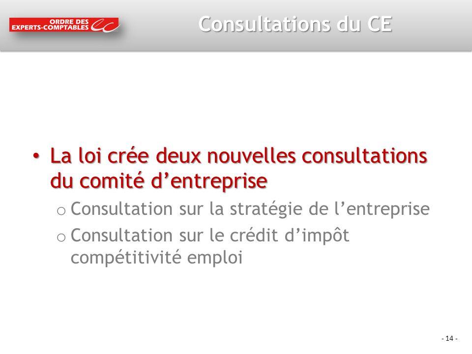 - 14 - Consultations du CE La loi crée deux nouvelles consultations du comité dentreprise La loi crée deux nouvelles consultations du comité dentrepri