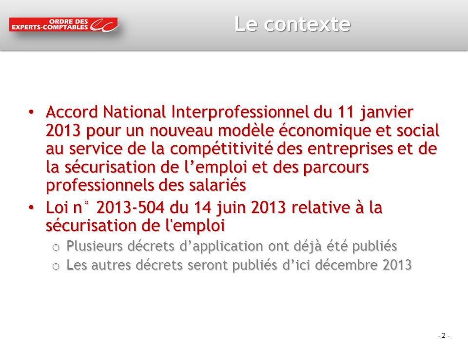 - 2 - Le contexte Accord National Interprofessionnel du 11 janvier 2013 pour un nouveau modèle économique et social au service de la compétitivité des