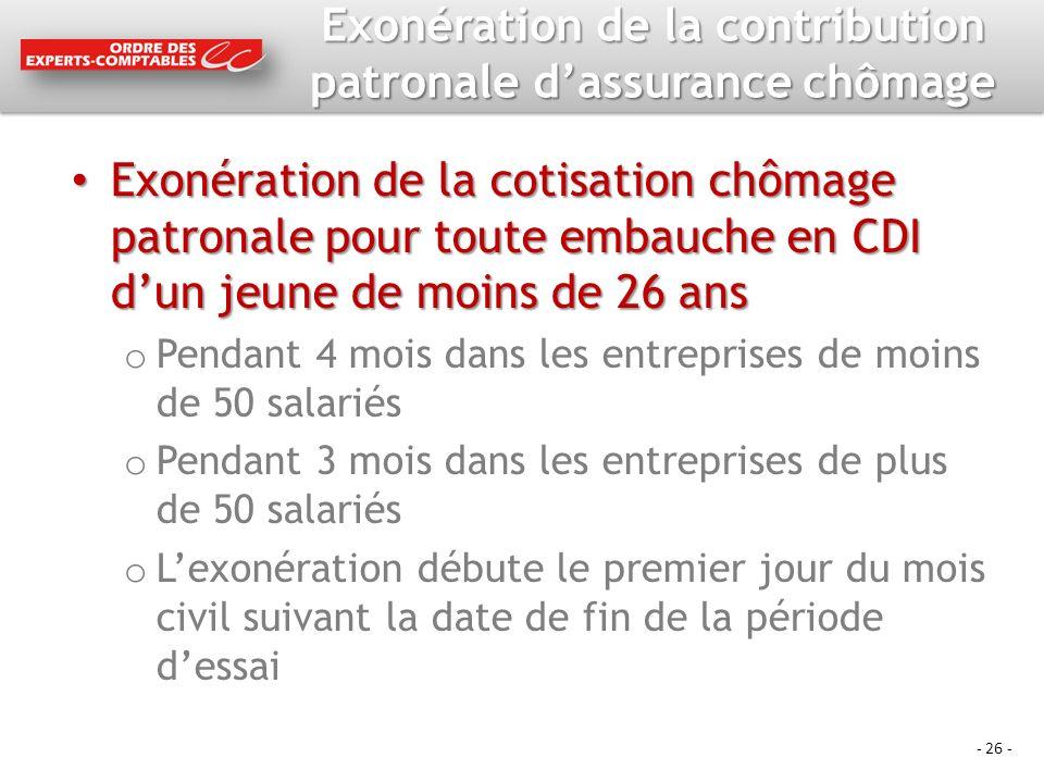 - 26 - Exonération de la contribution patronale dassurance chômage Exonération de la cotisation chômage patronale pour toute embauche en CDI dun jeune