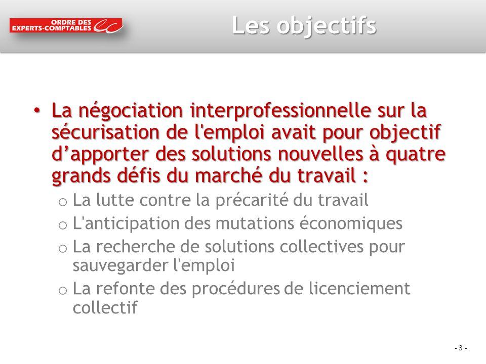 - 3 - Les objectifs La négociation interprofessionnelle sur la sécurisation de l'emploi avait pour objectif dapporter des solutions nouvelles à quatre