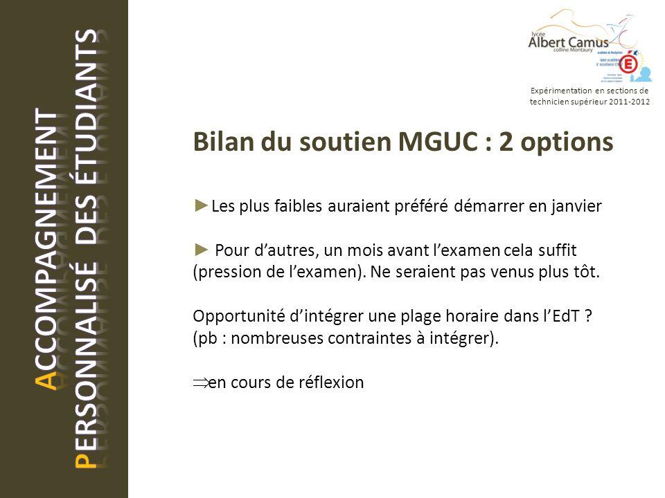 Bilan du soutien MGUC : 2 options Les plus faibles auraient préféré démarrer en janvier Pour dautres, un mois avant lexamen cela suffit (pression de lexamen).